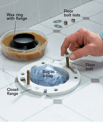 wax ring with flange, floor nuts and bolts
