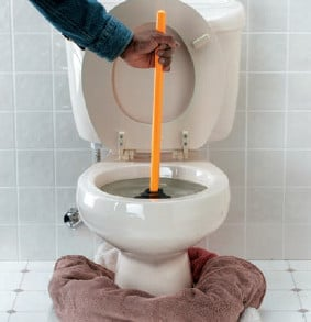 plumber placing towel around clogged toilet