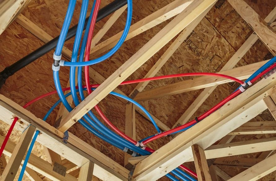 old copper pipes replaced with pex plumbing pipes